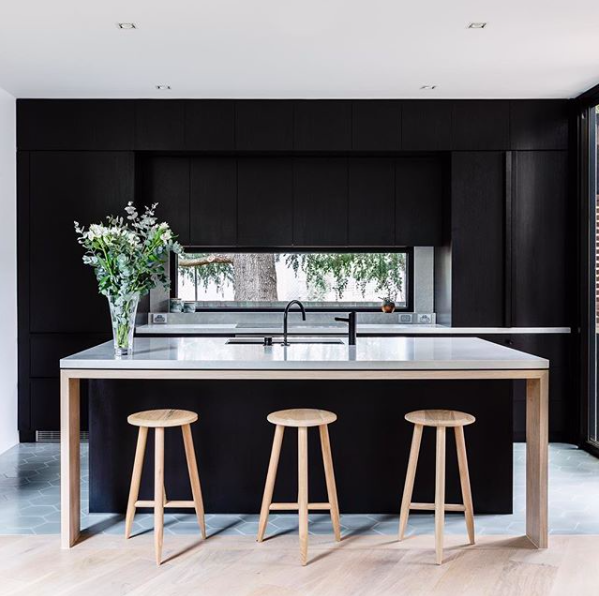 Black kitchens with island like timber furniture