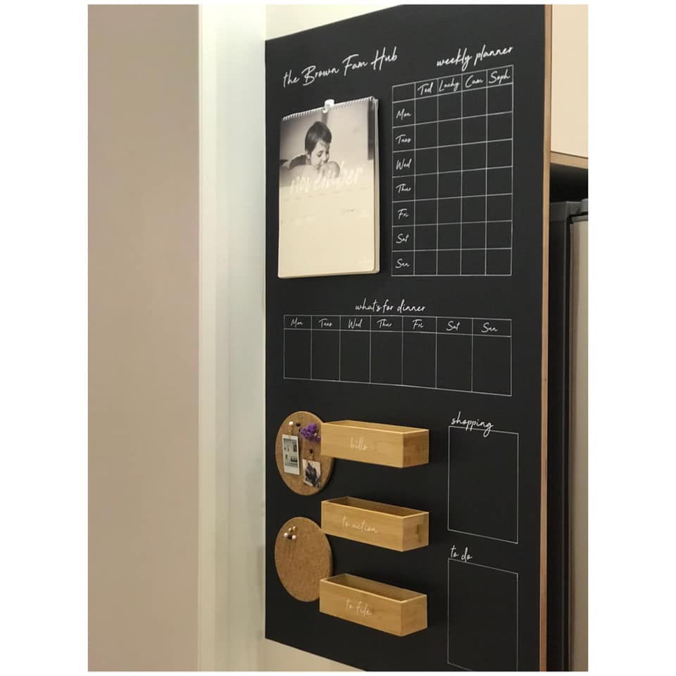 Family hub organiser using Kmart vinyl coolest Kmart hacks