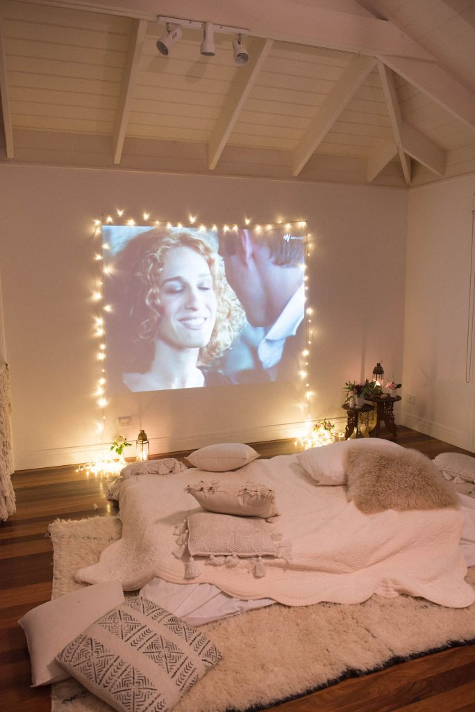 Cosy movie night at home