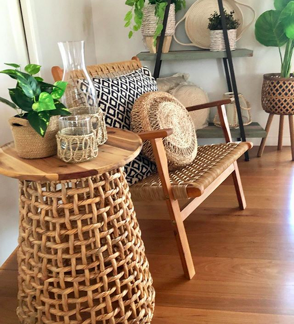 Woven side table coolest Kmart hacks