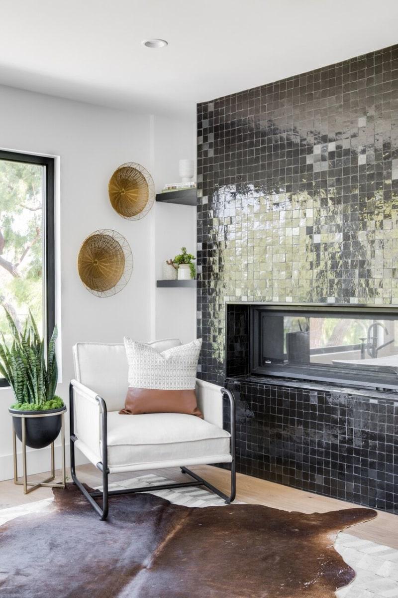 Black square gloss fireplace