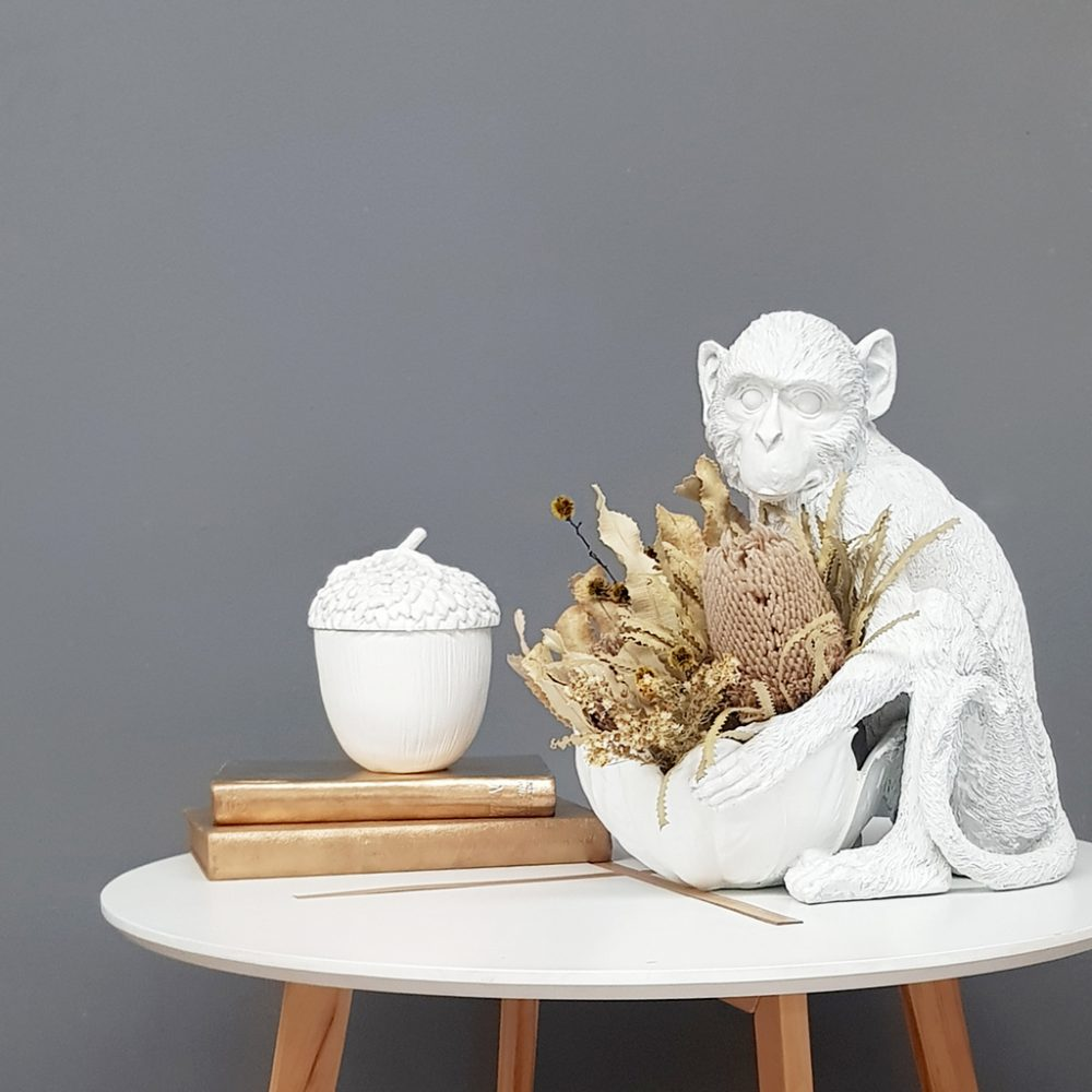 Monkey Bowl White with Acorn