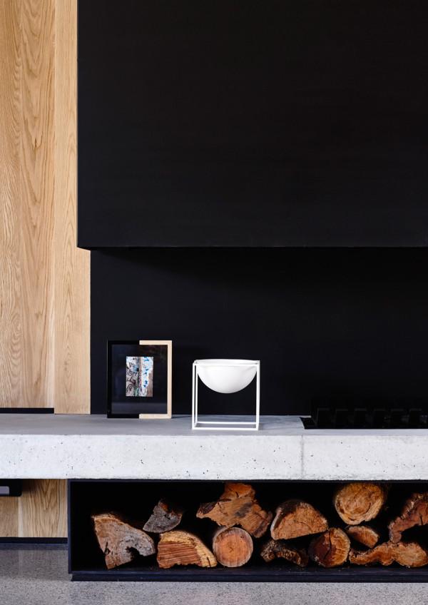 Concrete plinth fireplace
