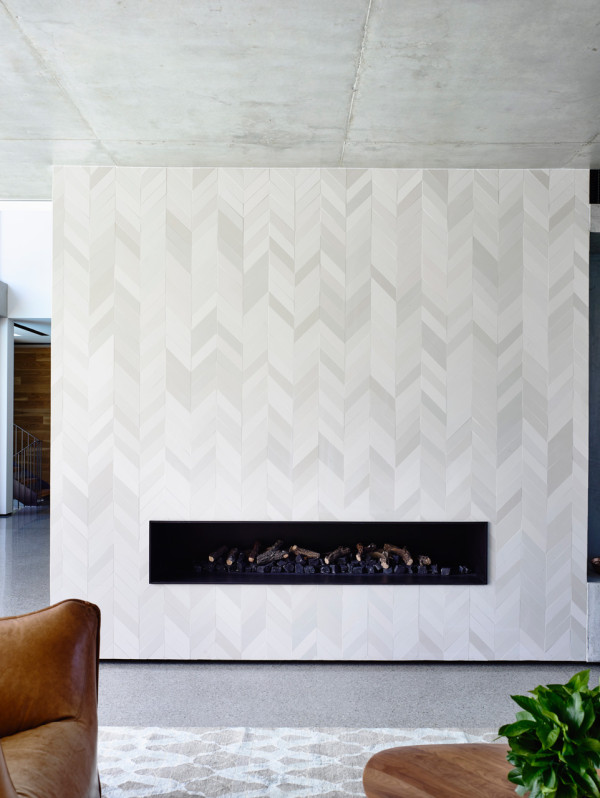 Chevron tile fireplace