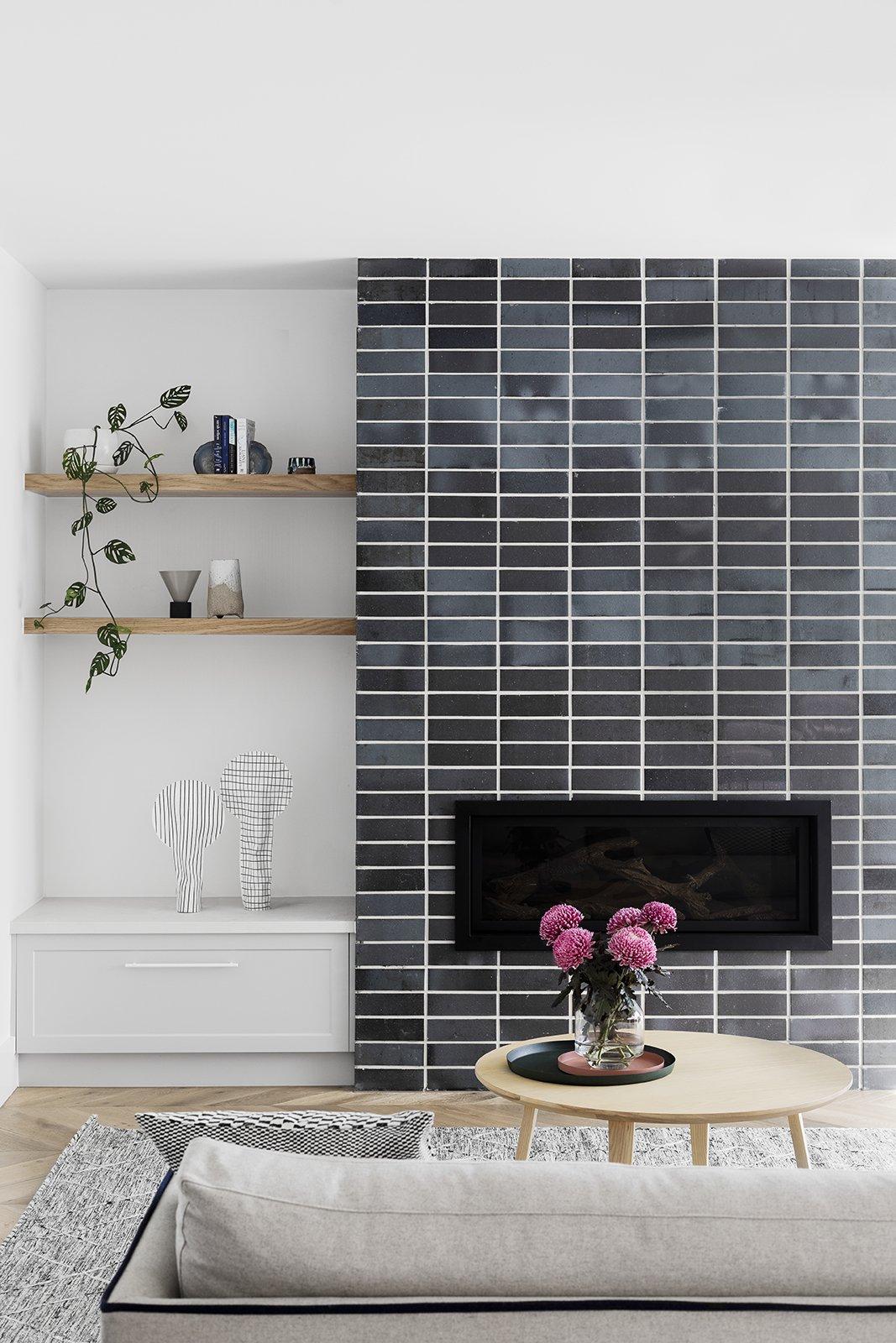 flat grey brick modern fireplace