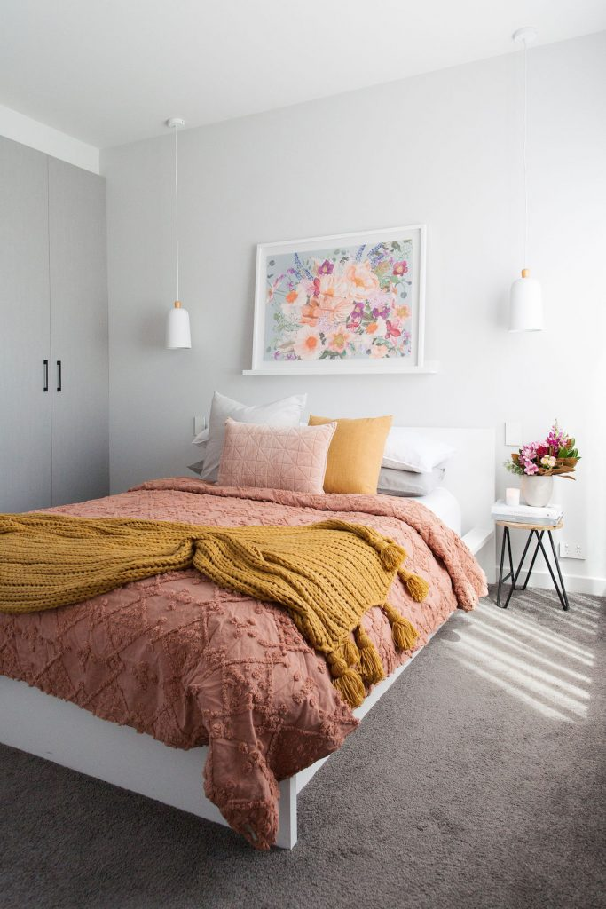 Romantic autumn bedroom portrait