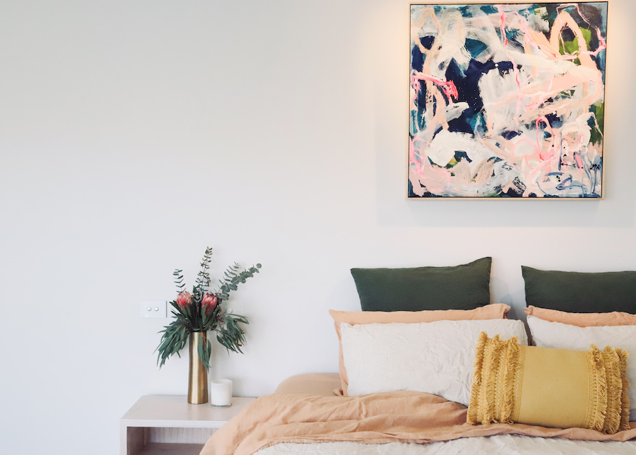 Harlo bed front on how to design a room around art