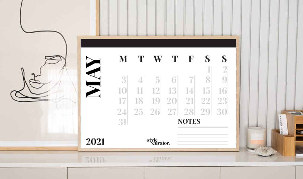 Wall calendar front on