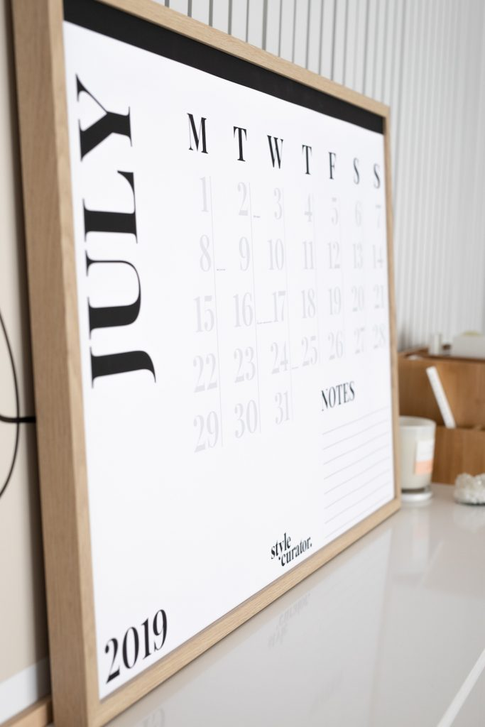 Minimalist wall calendar