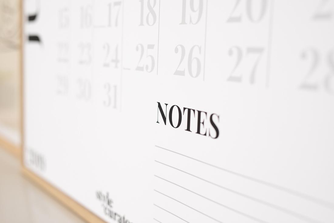 Notes wall calendar
