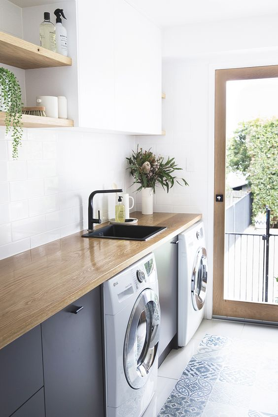 Timber benchtop in laundry