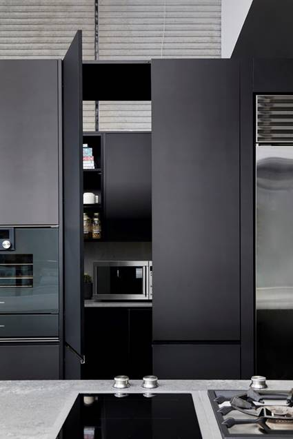 Matte black kitchen cabinets Guy Sebastian kitchen