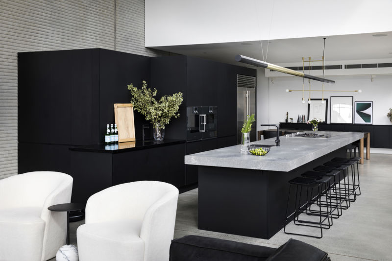 Black kitchen stone bench Guy Sebastian kitchen