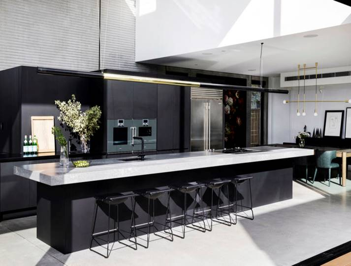 Black matte kitchen large island
