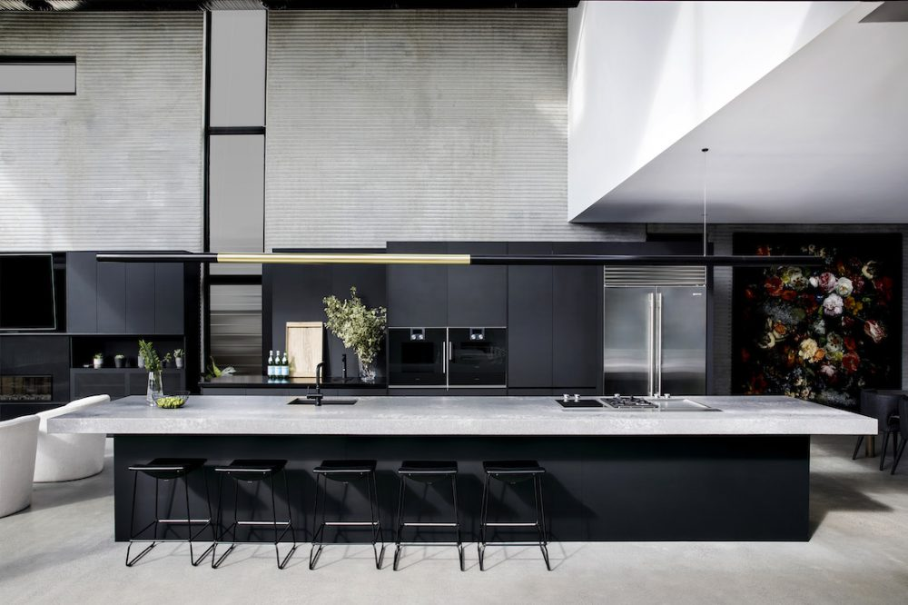 Black and grey kitchen with extra long bench finding your kitchen style