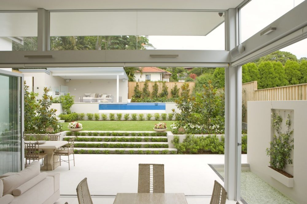 Indoor outdoor living area with garden and pool