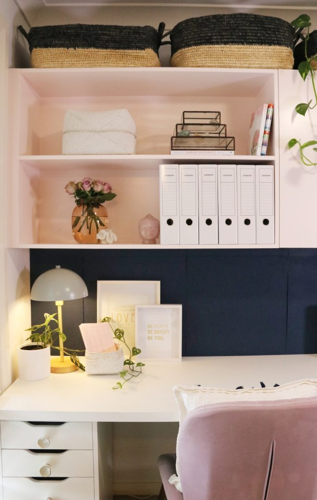Styling home office using shelves