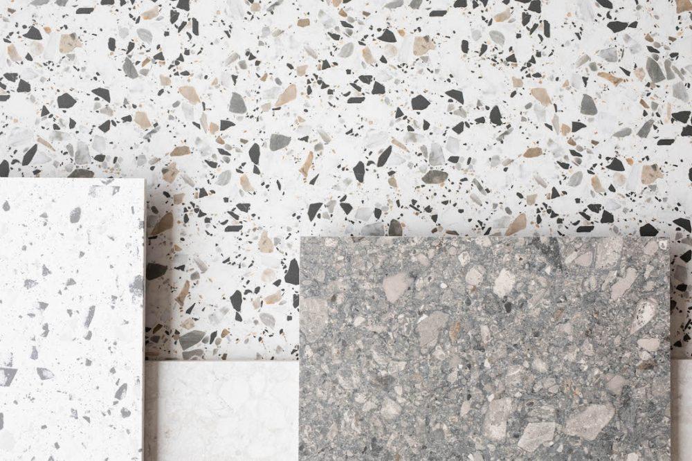 Terrazzo-look porcelain tiles