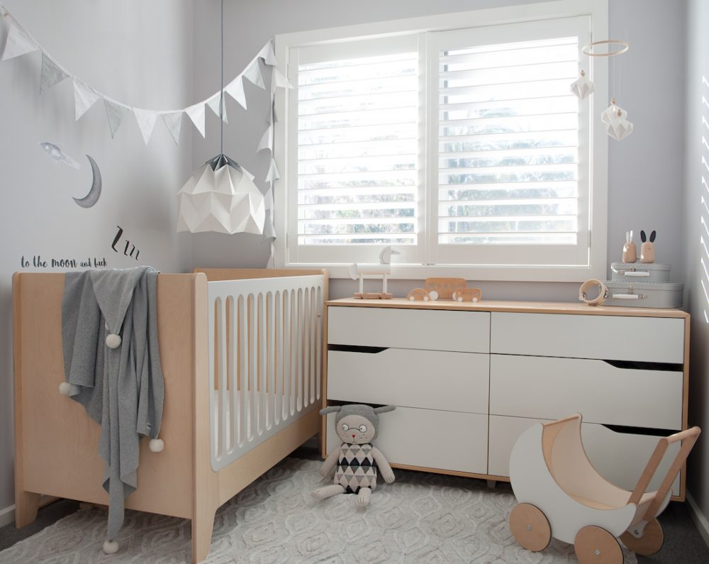 White and wooden nursery