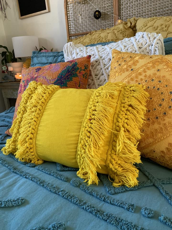 Turmeric dyed kmart boho cushion coolest Kmart hacks