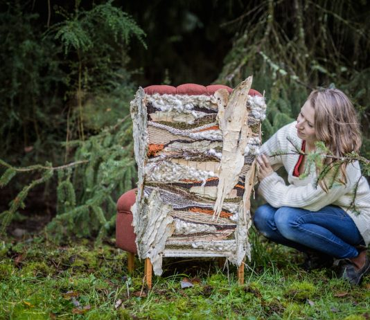 Artist Kerri Hollingworth from Antiquate with custom chair