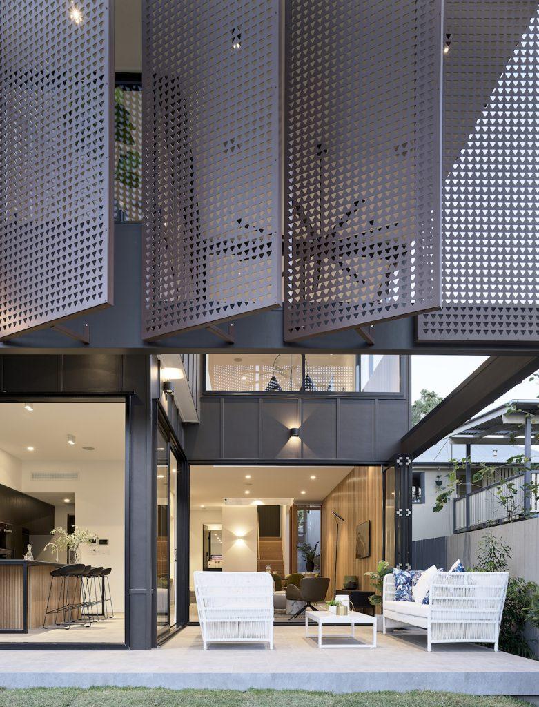Black shade facade on Onyx home