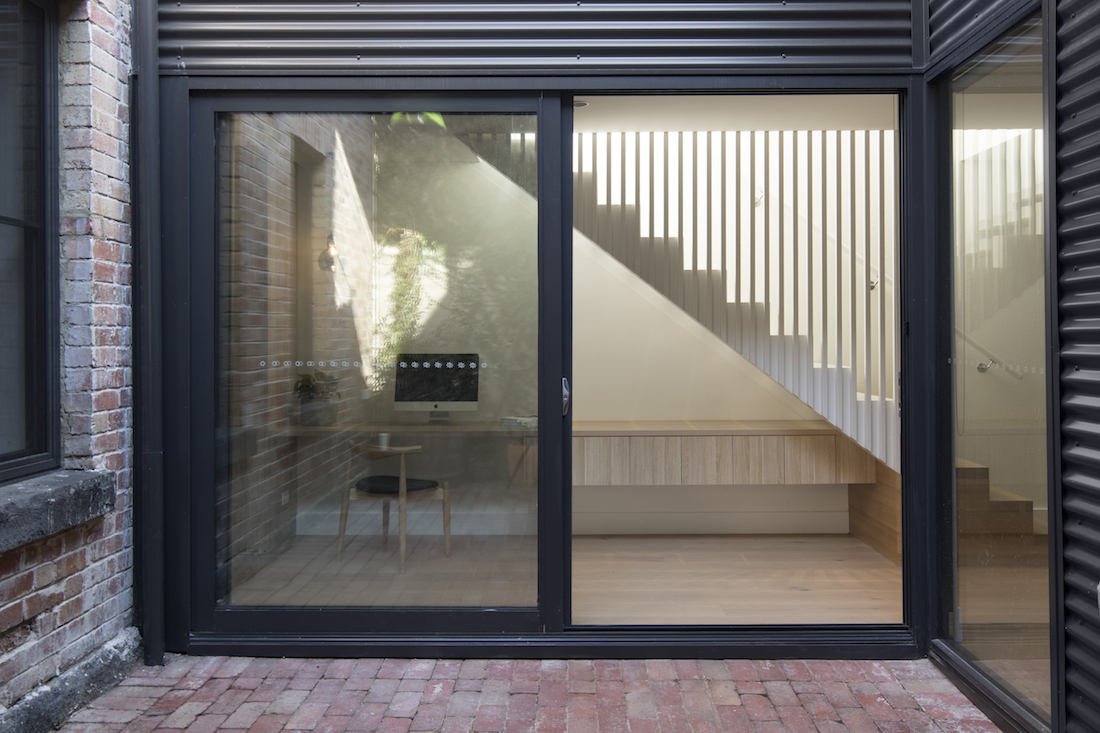 Central courtyard with stairs and study nook