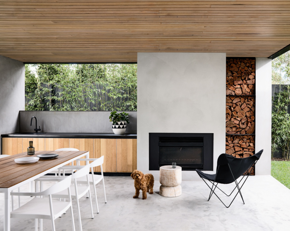 Concrete fireplace outdoor