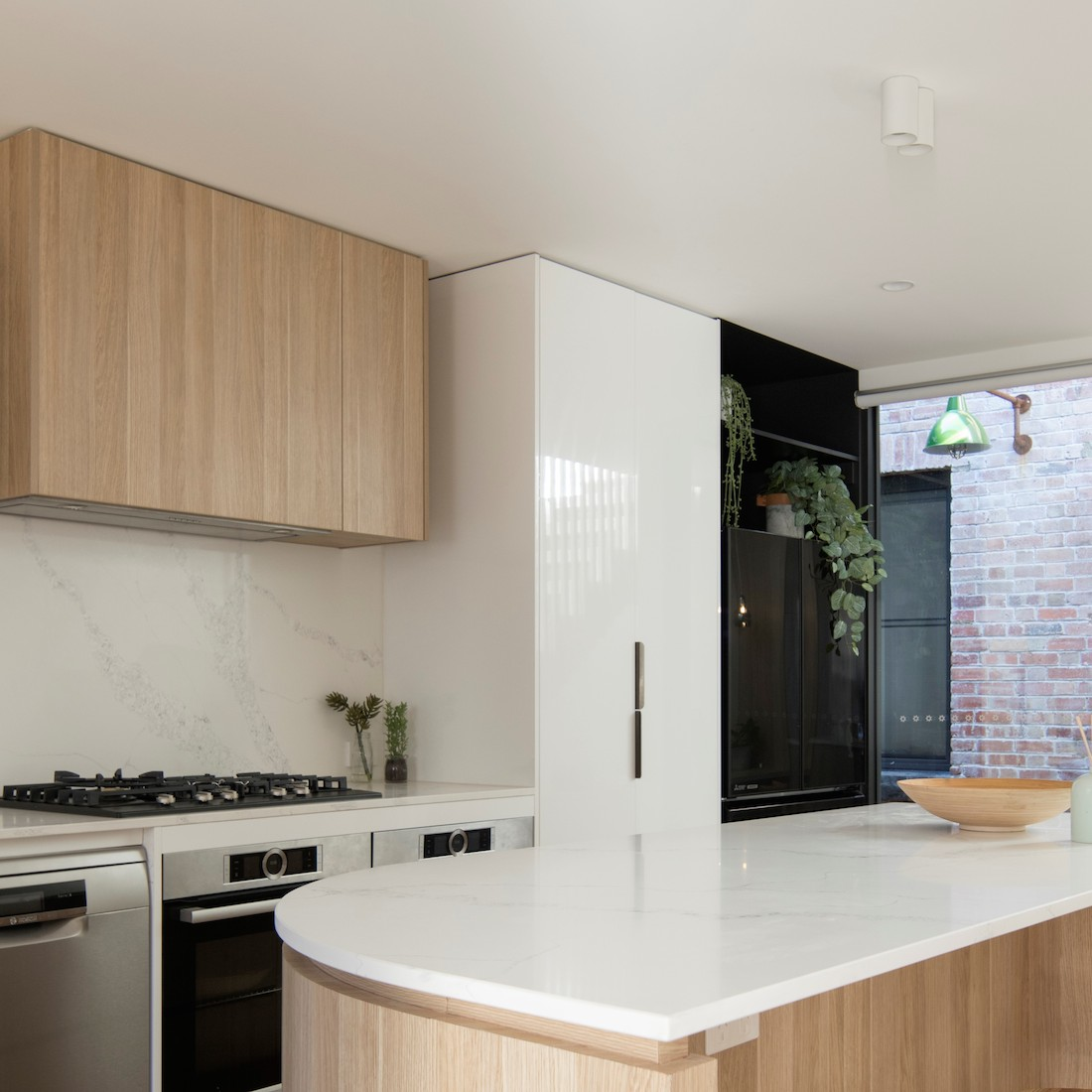 Kitchen with view to central courtyard