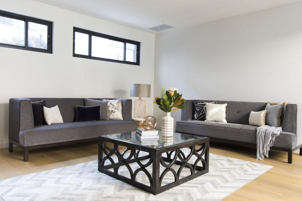 Neutral tones styled lounge room Naomi Findlay luxe looks for less