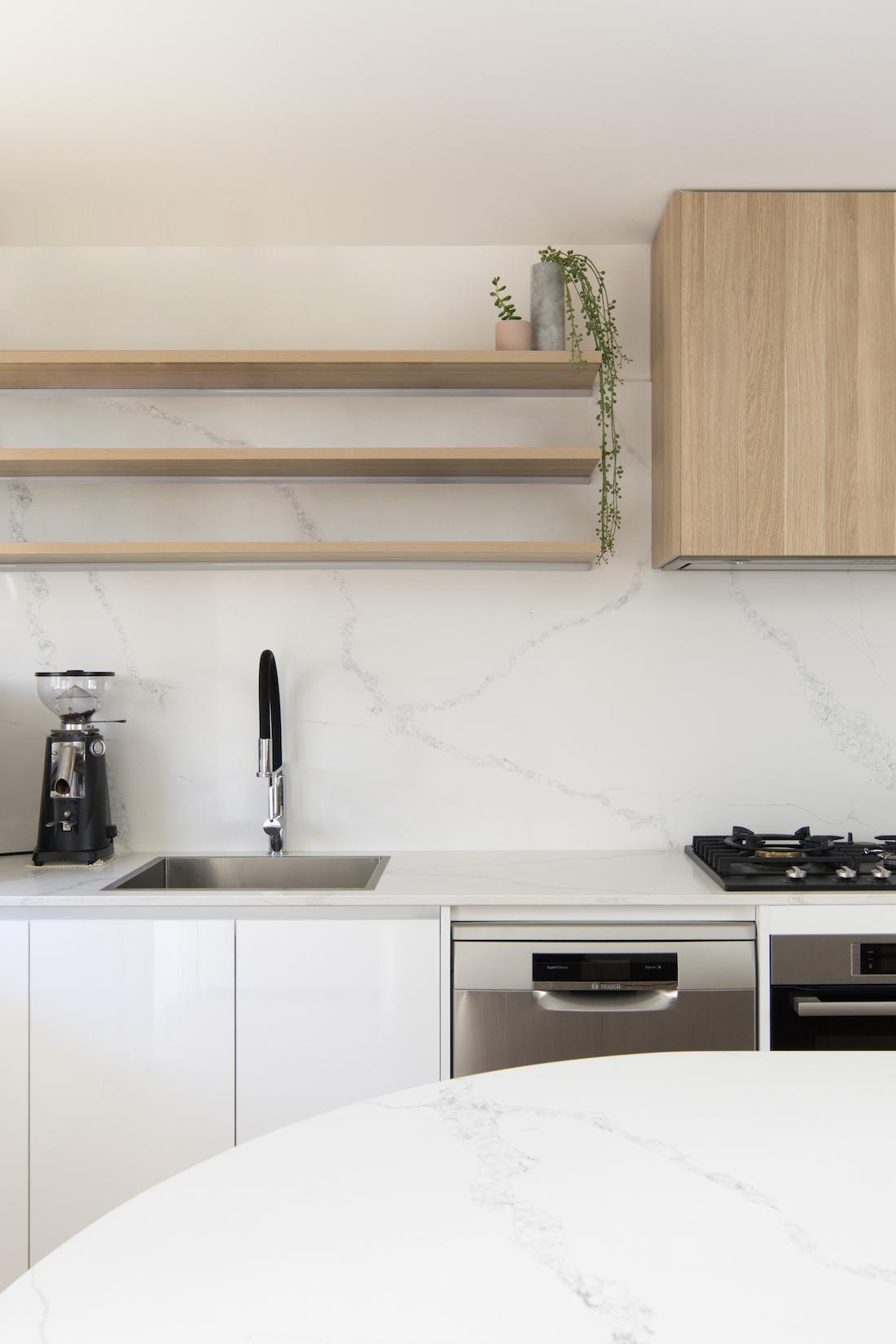 Scandi style kitchen marble splashback