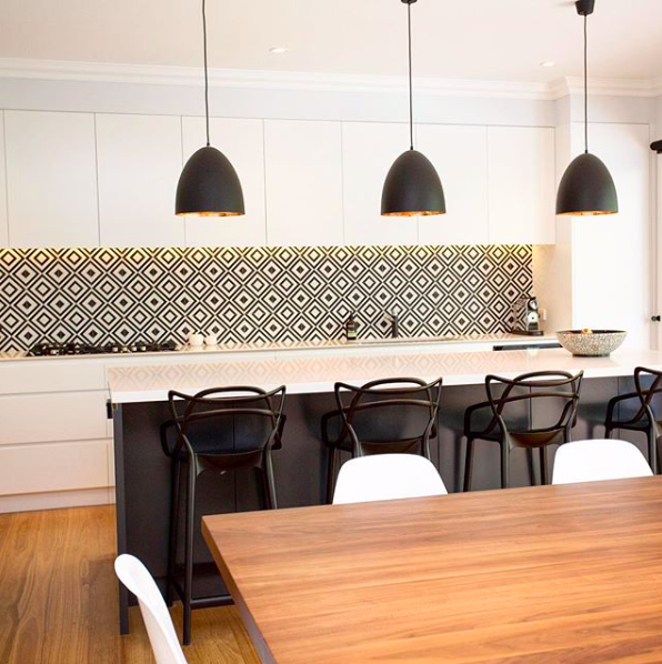 Black and white patterned kitchen splash back right kitchen splashback tile