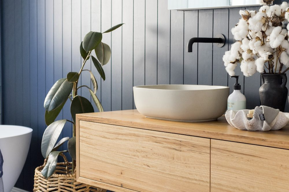 Timber vanity coastal luxe bathroom