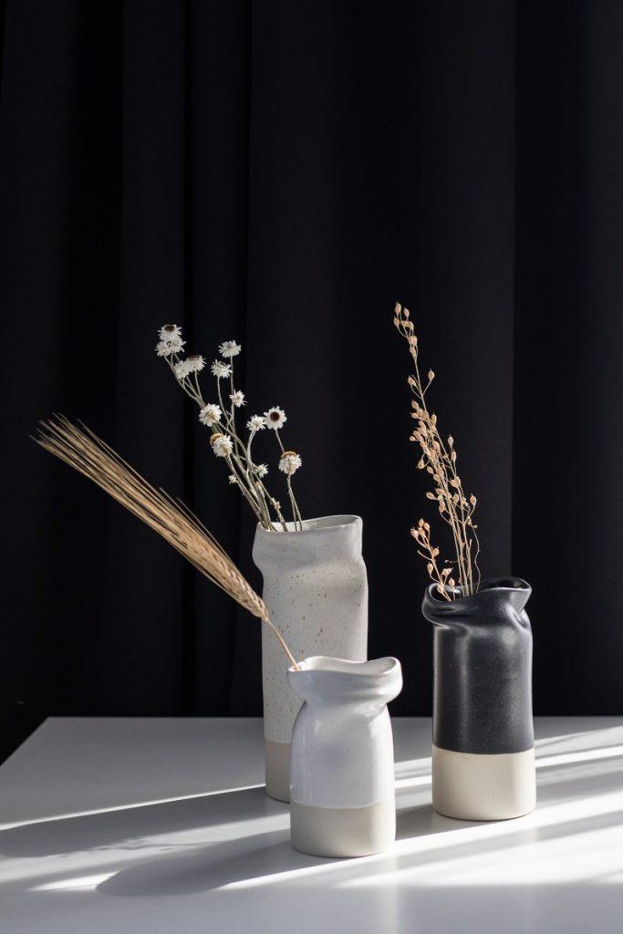 Organic ceramic vases