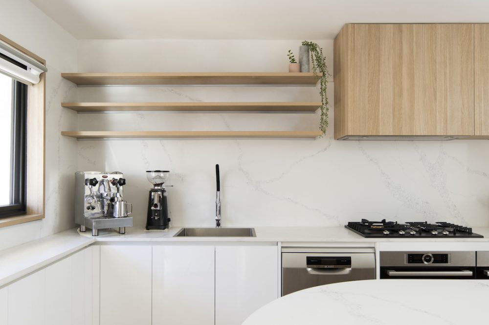 White and blonde timber kitchen