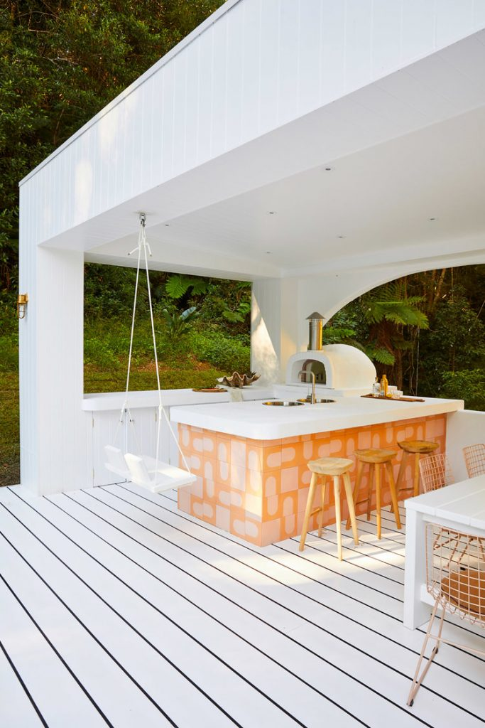 White and orange outdoor kitchen