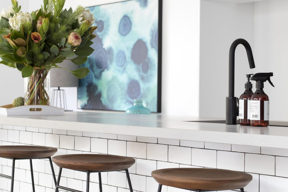 White kitchen with black tapware luxe looks for less