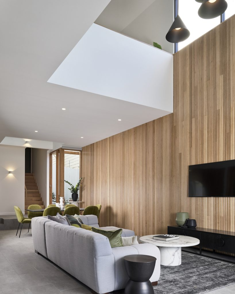Wood panelling feature wall in lounge