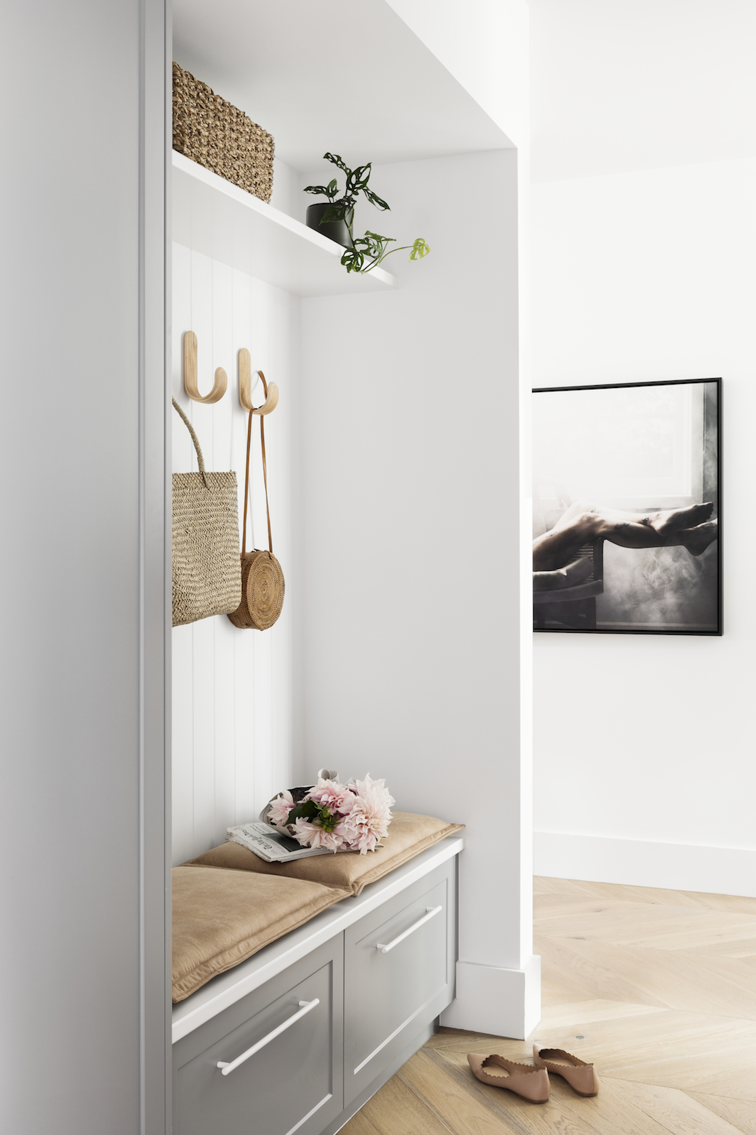 Bask Interiors Hampton mudroom styling