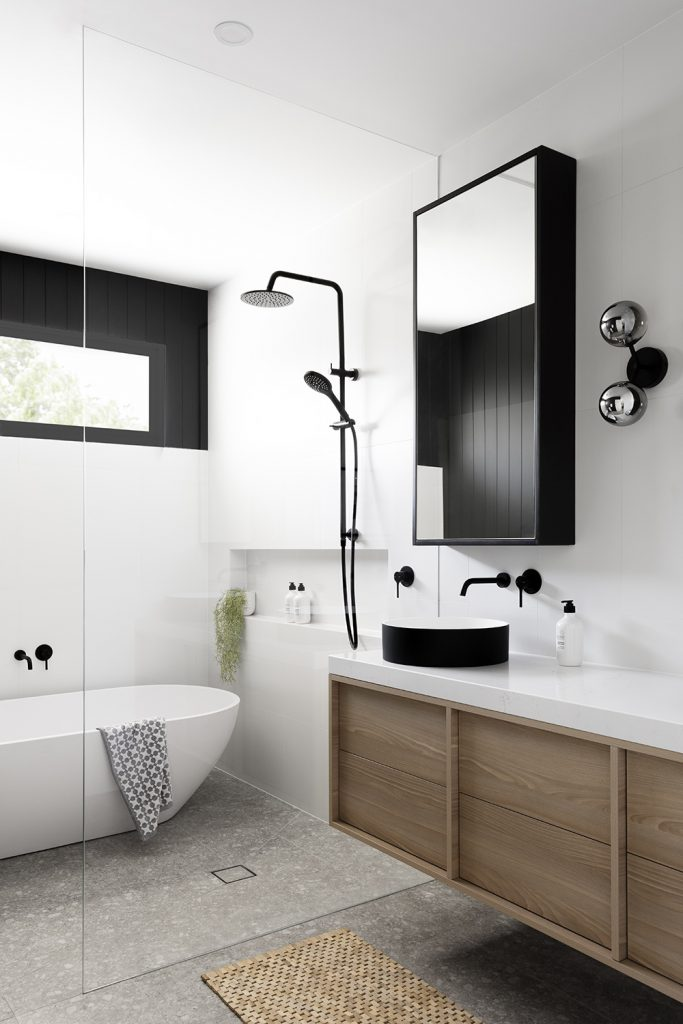 Black and white bathroom by GIA Bathrooms & Kitchens