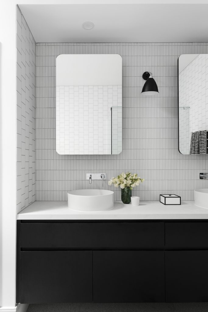 Black and white bathroom vessel sink