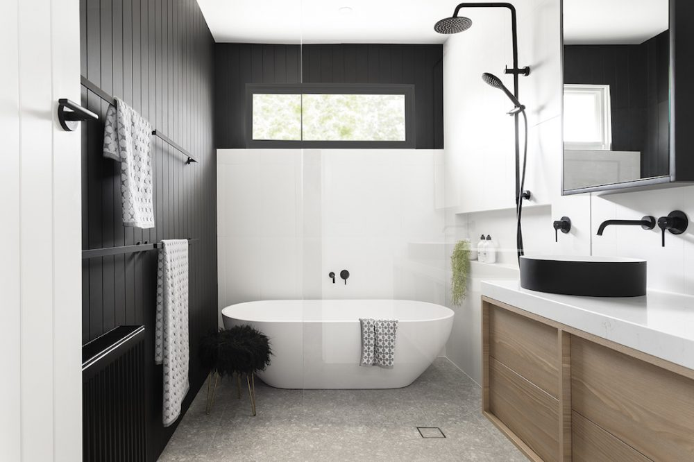 Black and white main bathroom by GIA Bathrooms & Kitchens