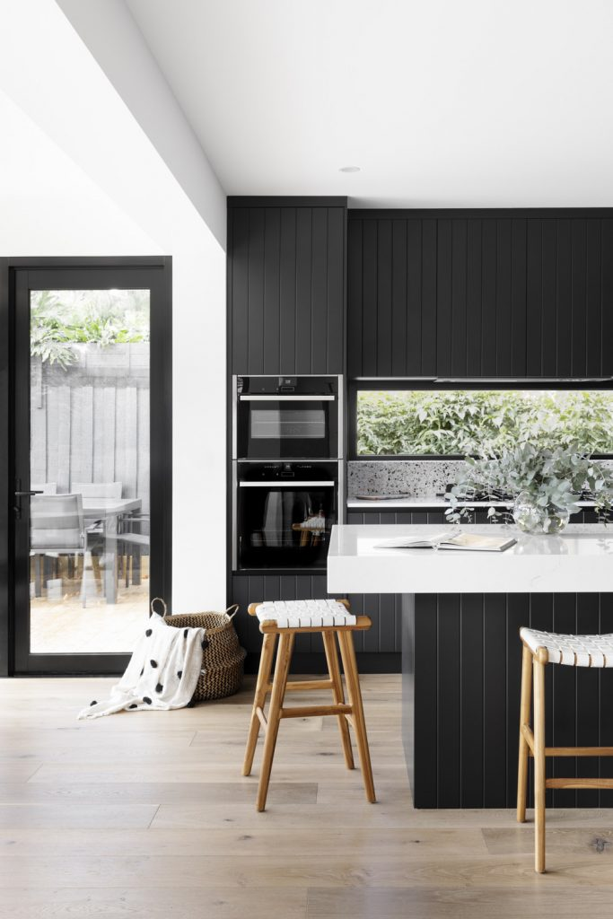 Black joinery in kitchen by GIA Bathrooms & Kitchens
