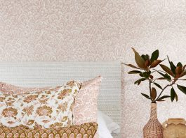 Blush pink tones from Overland collection and wall paper by Walter G
