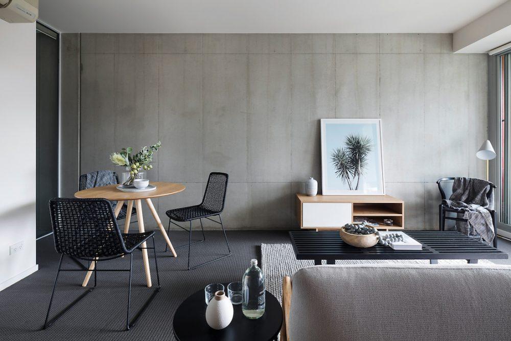 Concrete wall styling by property stylist_Emma Tobin