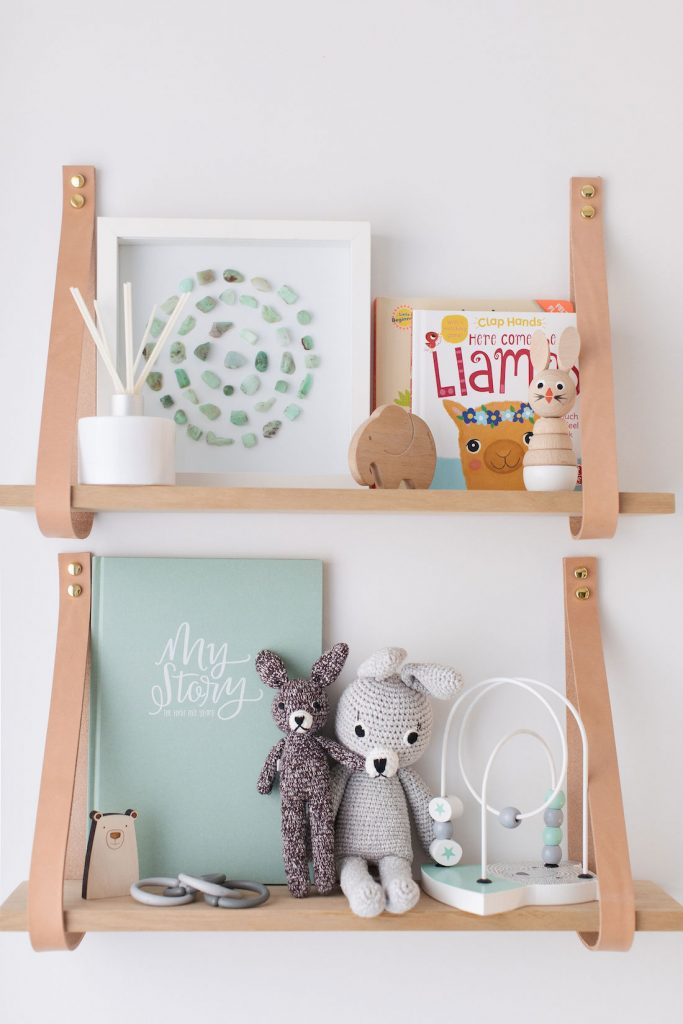 Nursery shelf styling