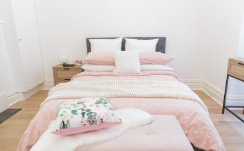 Pink tufted bedding