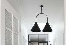 White and black interior with chevron floor