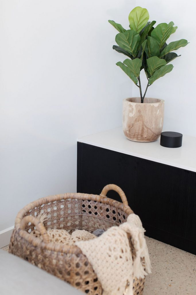 Cane basket and timber pot interior trends