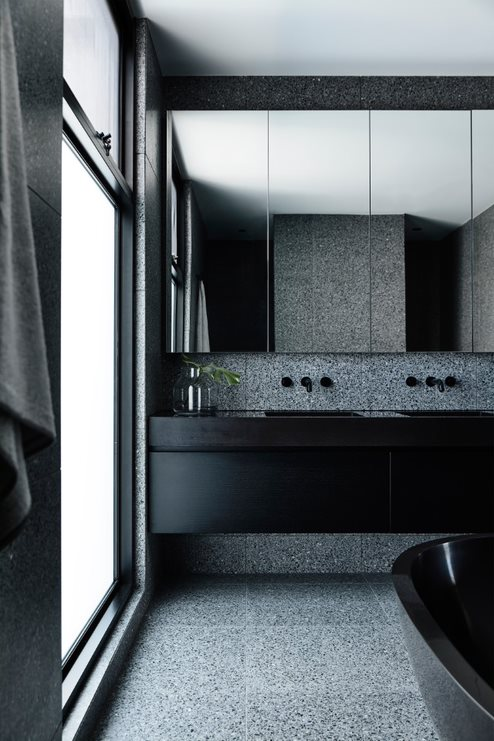 Black and grey masculine bathroom
